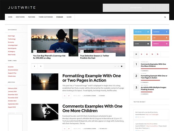 Justwrite demo 2 JustWrite WordPress Theme Review : Free Theme for Writers