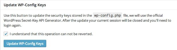 Update WordPress config Keys
