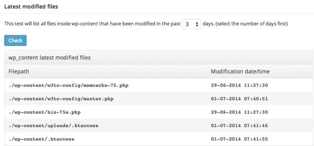 WordPress latest modofied files