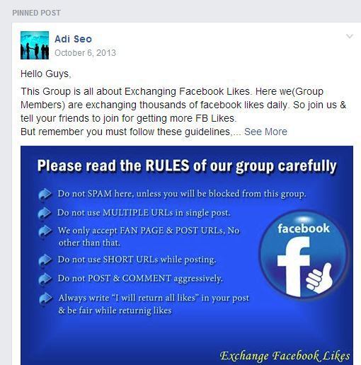 Facebook group to exchange like