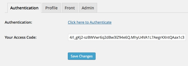 Google analytics authentication