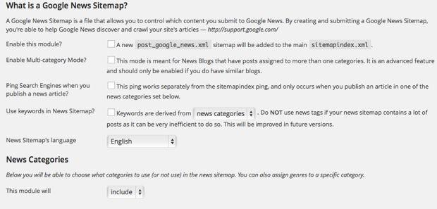 Google news sitemap plugin