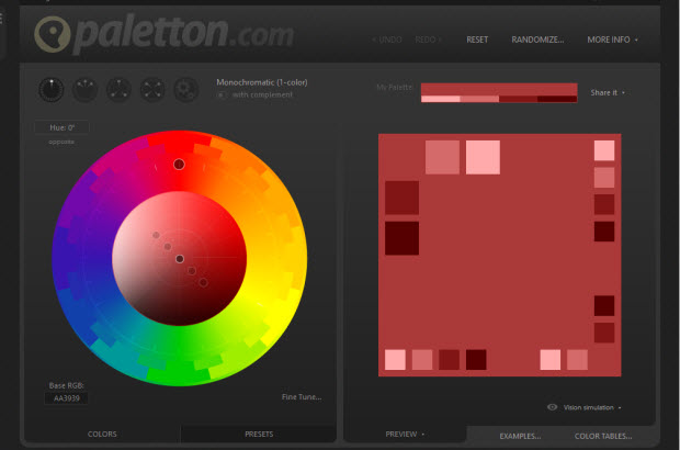 Paletton Color scheme designer