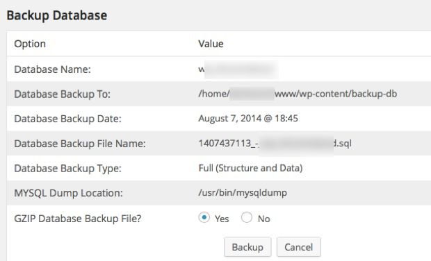 Taking WordPress Database Backup