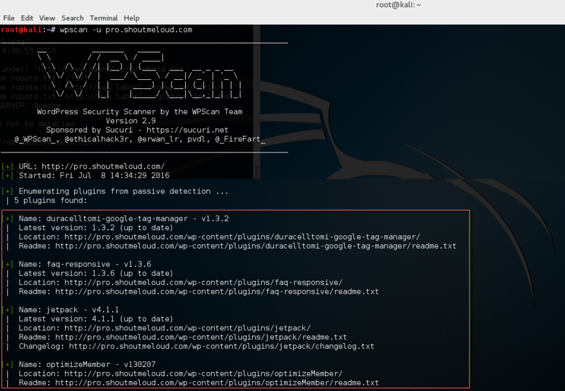WpScan command Kali find plugins