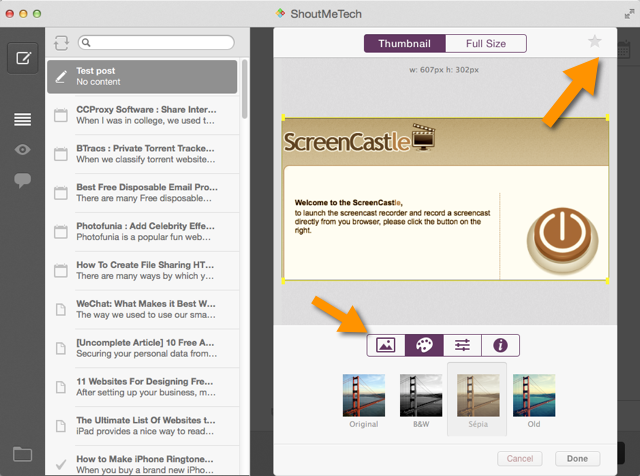 Blogo image editing feature