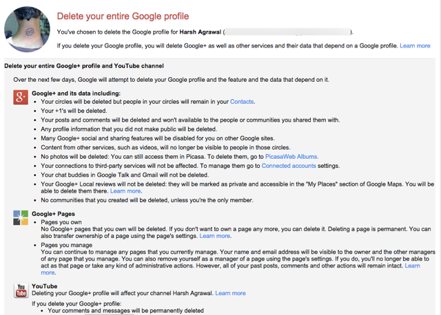 Downgrade Google plus profile