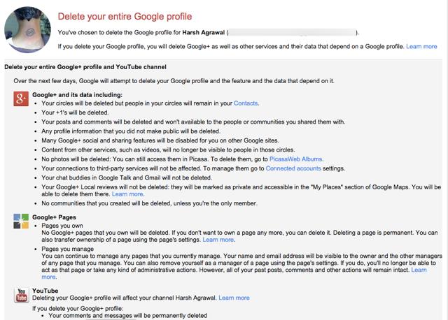 Downgrade Google plus profile