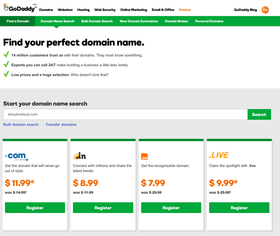 GoDaddy Cheap Domain Name