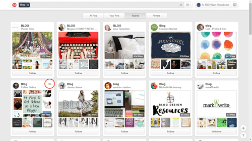 Pinterest Board for traffic