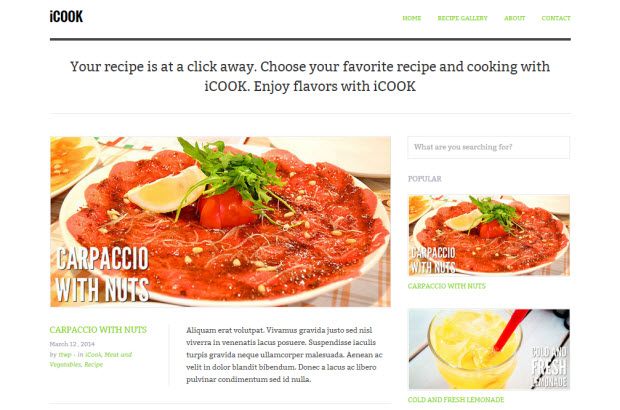 4 best food recipes wordpress themes to make your blog look yummy icook is one of the latest and coolest wordpress themes for food bloggers the theme instantly sheds some light on the seriousness and professionalism of forumfinder Image collections