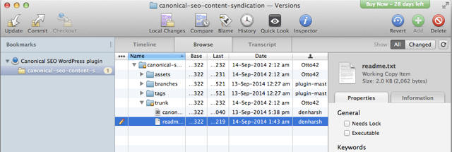 select plugin changes and add to SVN