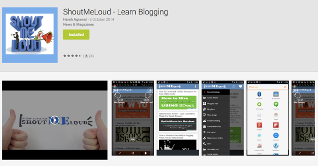 Blogger Android App ShoutMeLoud