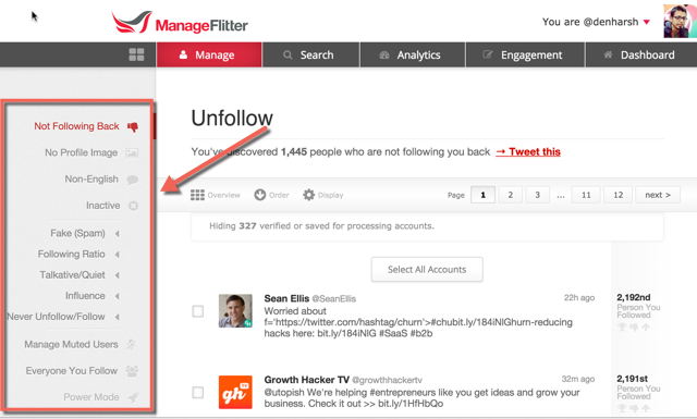ManageFlitter features