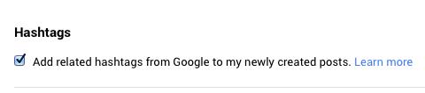 automatically add Google plus hashtag