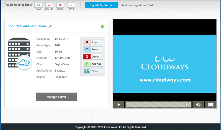 Testing Cloud server on DO