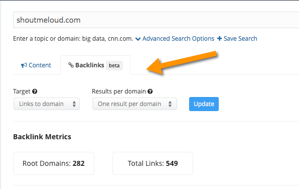 BuzzSumo Backlink Checker