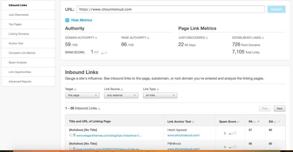 Hasil gambar untuk check backlinks MOZ Open Site Explorer