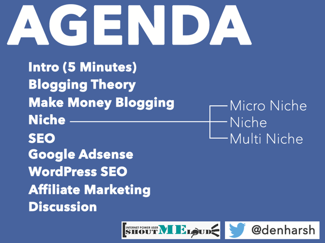 Blogging Workshop agenda