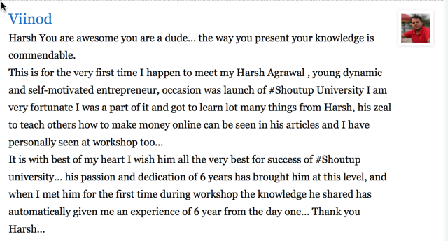 Blogging Workshop testimonial 3