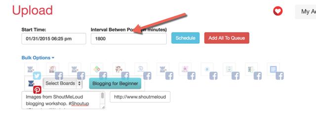 Bulk schedule social-media