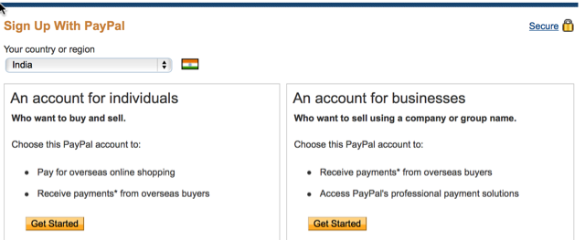 create your paypal account