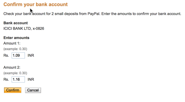 Enter bank transaction