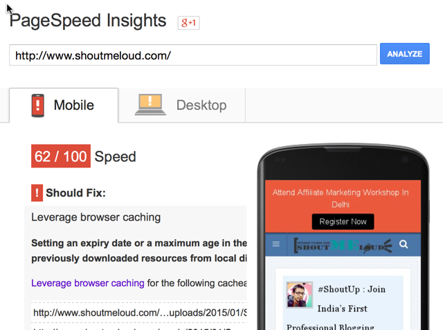 Google page speed insights for mobile