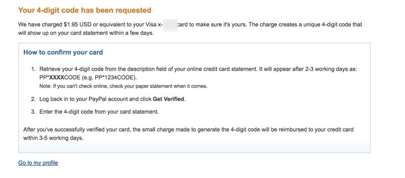 PayPal Card verification
