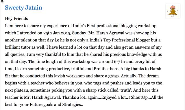 Sweety Blogging Workshop Testimonial