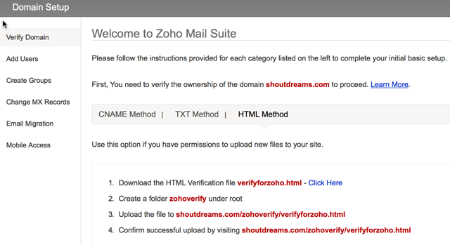 Zohomail domain verification