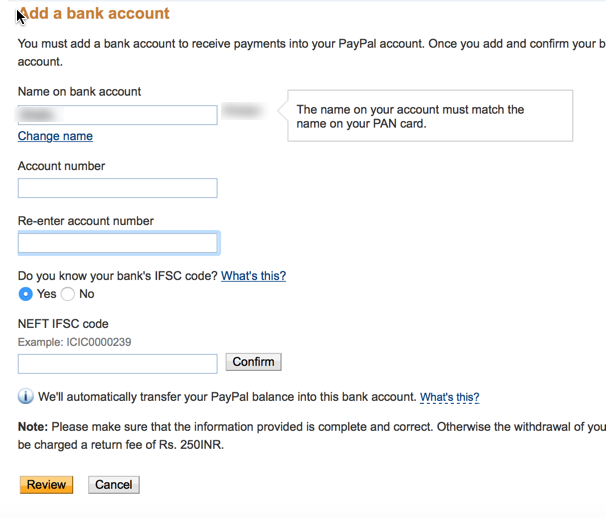 confirm PayPal Bank linking