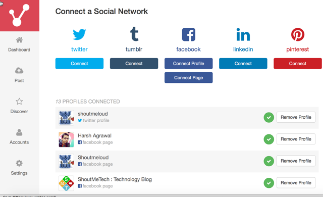 connected Social media profile