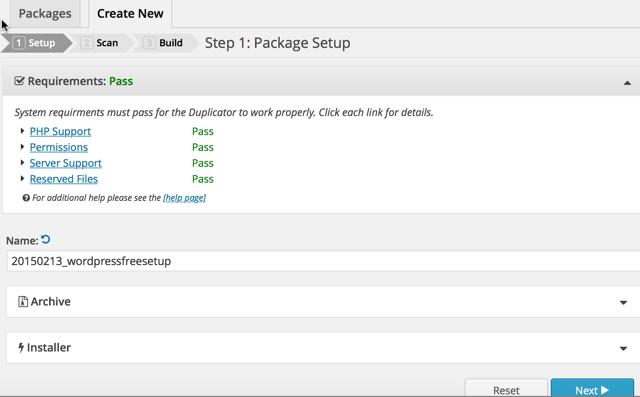 Create WordPress Duplicator Package