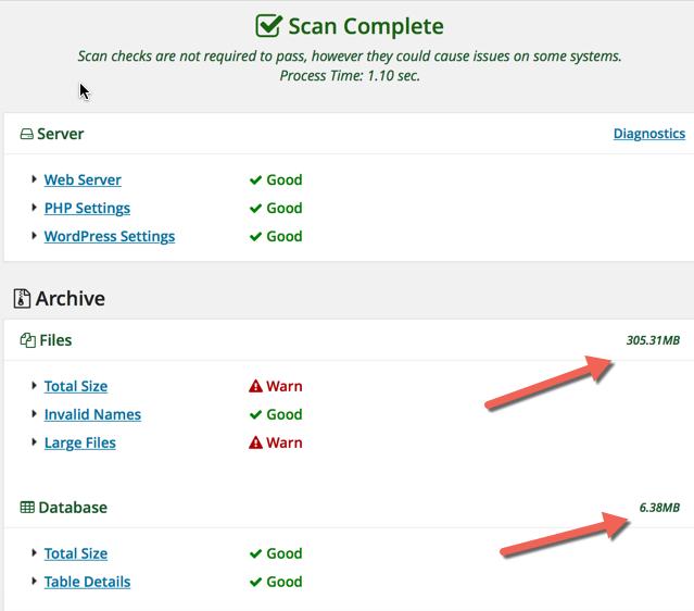 Duplicator plugin scan results