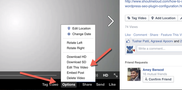 Edit Facebook video thumbnail