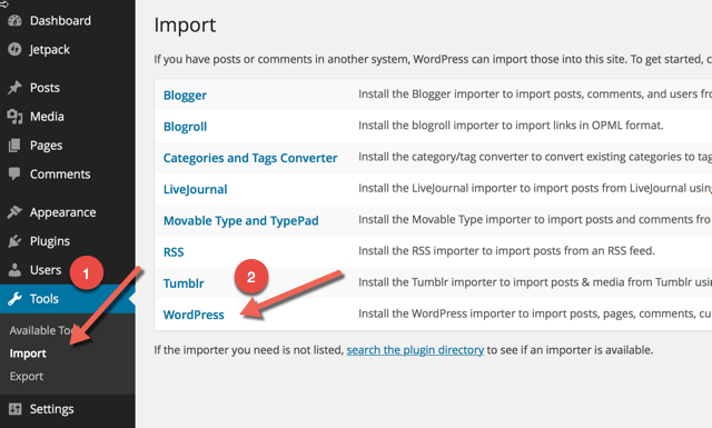 Import WordPress XMl file