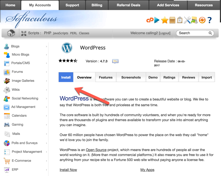 Clicking on Install will bring up the screen where you need to add details about your WordPress installation. Most of the steps are self-explanatory and I ...
