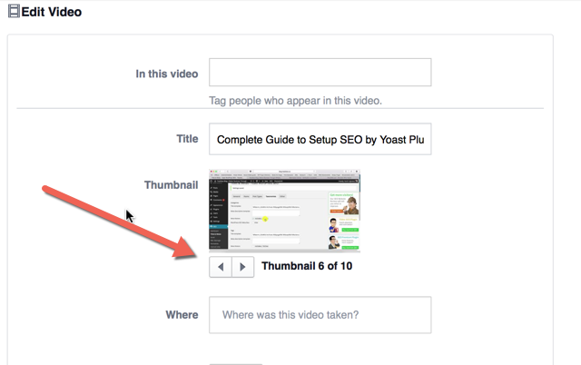 Select Facebook video thumbnail