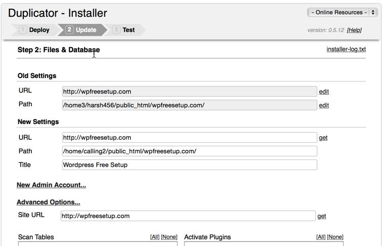 WordPress duplicator final URL