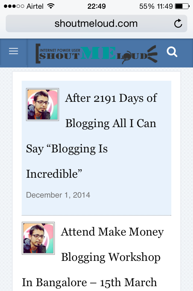 Custom WordPress mobile theme