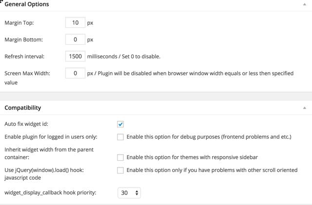 Fixed Widget WordPress plugin
