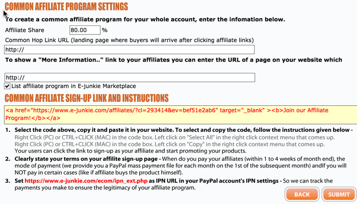 Affiliate program setting