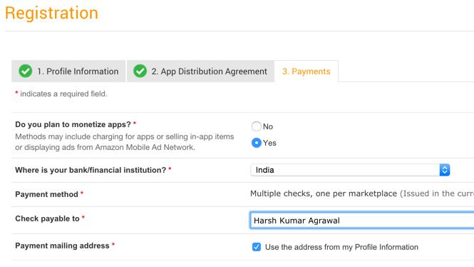 Amazon app payment