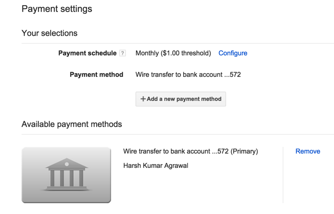 Google play store Payment settings