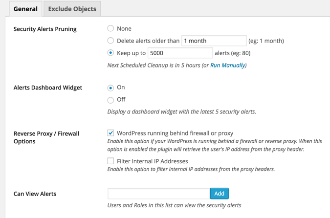 WP Audit log plugin settings