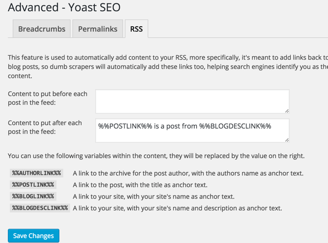 Yoast RSS feature
