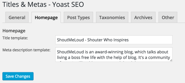 Yoast SEO Homepage-Einstellungen