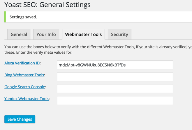 Yoast Webmaster tool verification