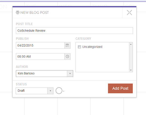 New Post using Coschedule